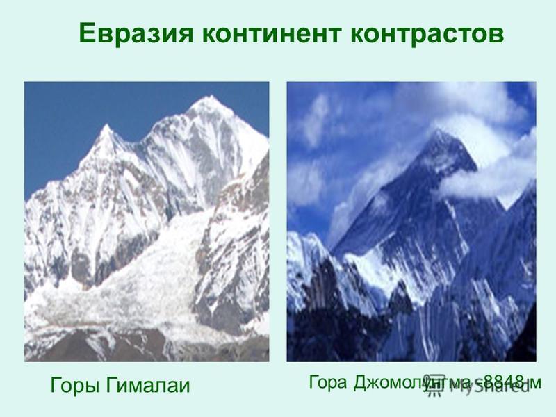 Горы Гималаи Гора Джомолунгма -8848 м Евразия континент контрастов