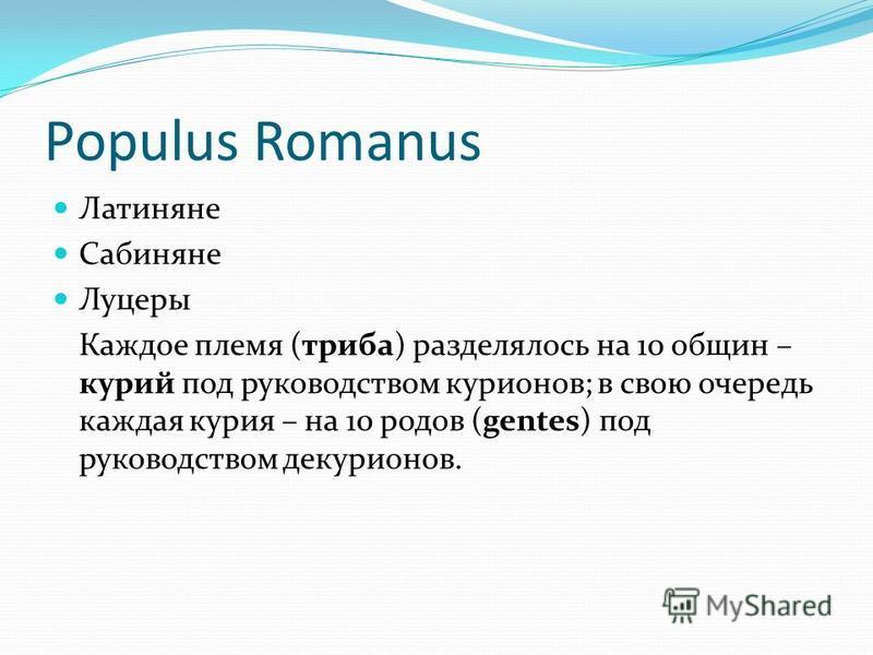 Populus Romanus Латиняне Сабиняне Луцеры Каждое племя (триба) разделялось на 10 общин – курий под руководством карионов; в свою очередь каждая курия – на 10 родов (gentes) под руководством декарионов.