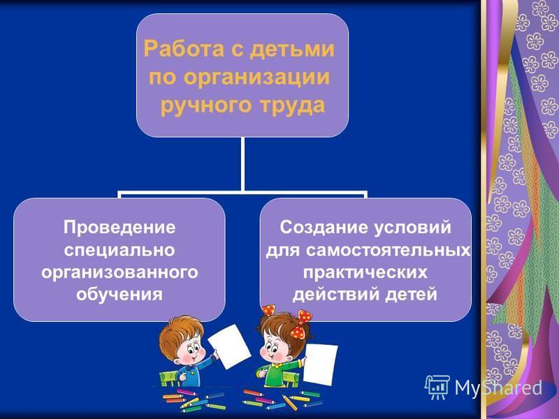 Работа с детьми по организации ручного труда Проведение специально организованного обучения Создание условий для самостоятельных практических действий детей