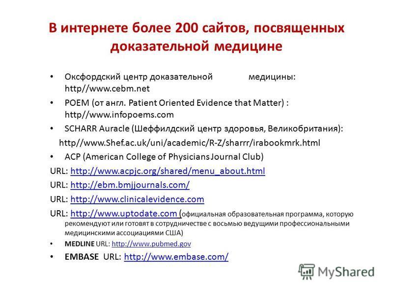В интернете более 200 сайтов, посвященных доказательной медицине Оксфордский центр доказательной медицины: http//www.cebm.net POEM (от англ. Patient Oriented Evidence that Matter) : http//www.infopoems.com SCHARR Auracle (Шеффилдский центр здоровья,