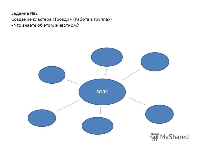 Задание 2 Создание кластера «Грозди» (Работа в группах) - Что знаете об этом животном? ВОЛК