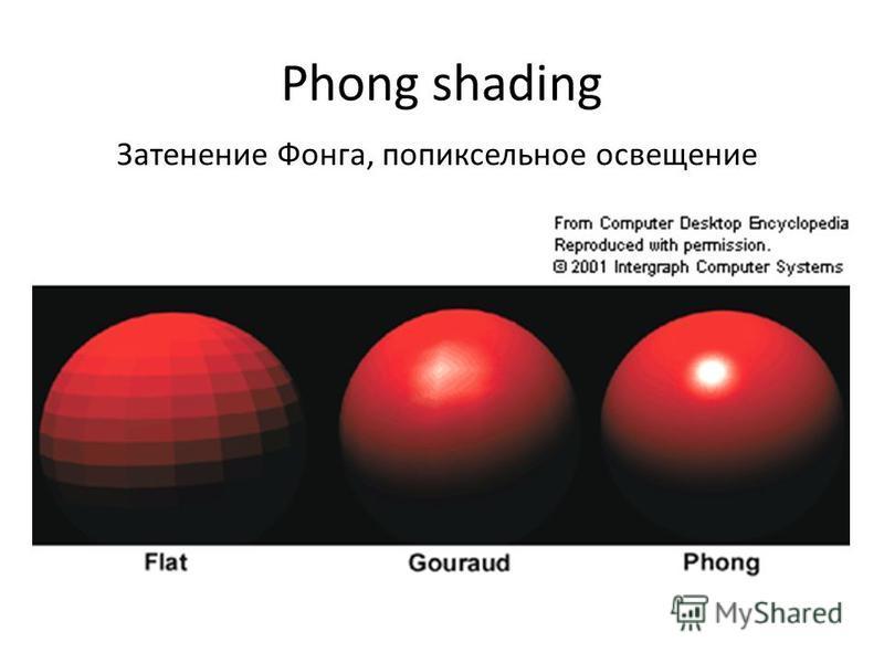 Phong shading Затенение Фонга, попиксельное освещение