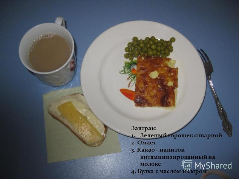 Завтрак: 1. Зеленый горошек отварной 2. Омлет 3. Какао - напиток витаминизированный на молоке 4. Булка с маслом и сыром