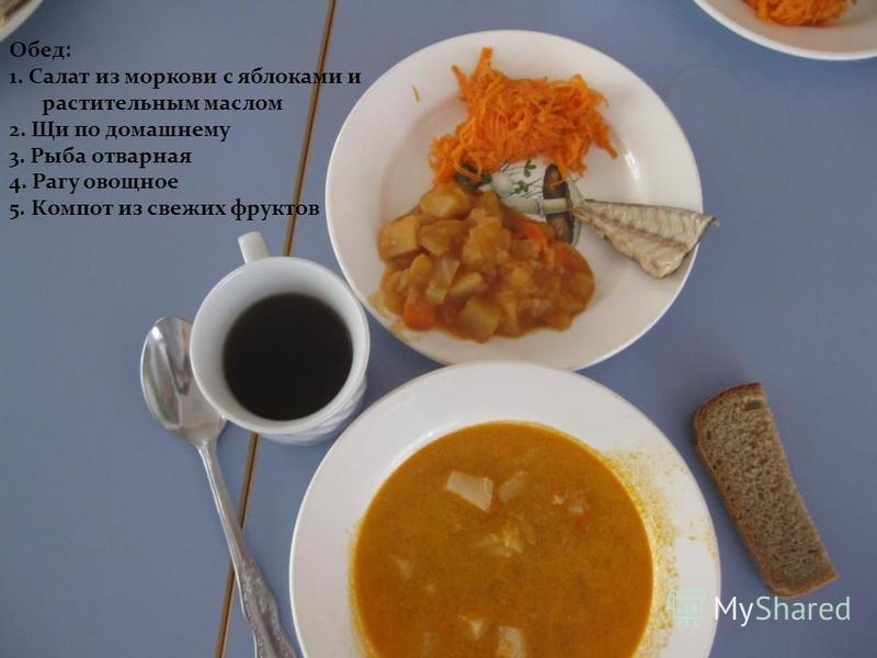Обед: 1. Салат из моркови с яблоками и растительным маслом 2. Щи по домашнему 3. Рыба отварная 4. Рагу овощное 5. Компот из свежих фруктов