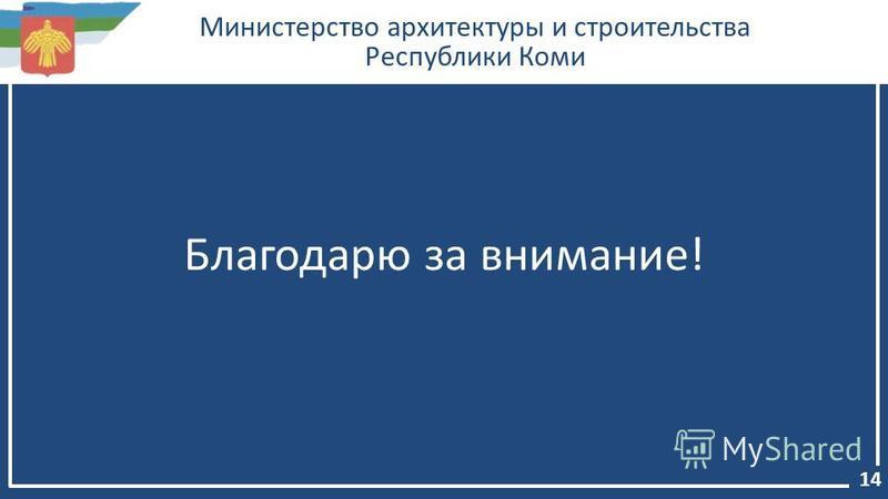 Министерство архитектуры и строительства Республики Коми Благодарю за внимание! 14