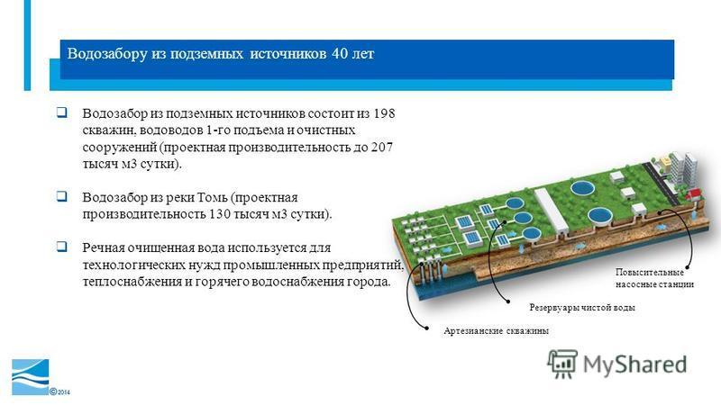 2014 Водозабору из подземных источников 40 лет Водозабор из подземных источников состоит из 198 скважин, водоводов 1-го подъема и очистных сооружений (проектная производительность до 207 тысяч м 3 сутки). Водозабор из реки Томь (проектная производите