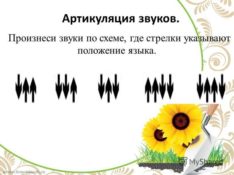 Артикуляция звуков. Произнеси звуки по схеме, где стрелки указывают положение языка.