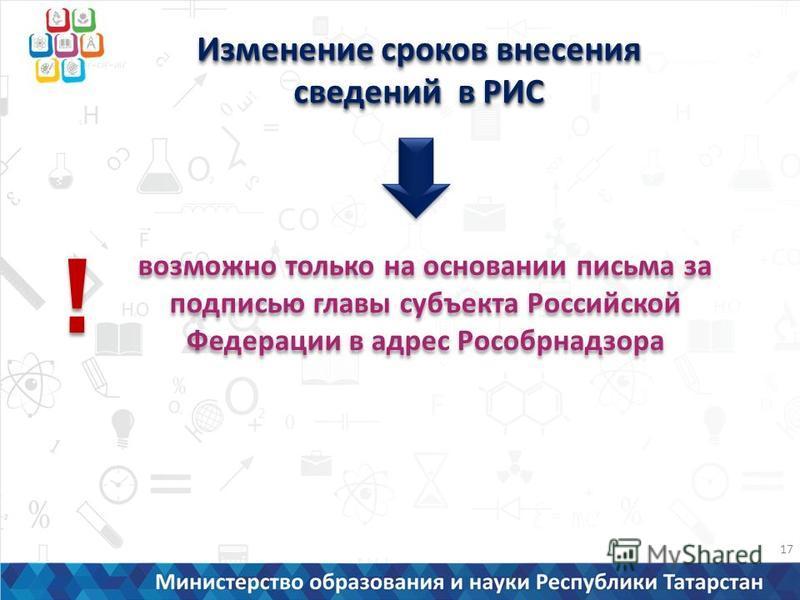 Изменение сроков внесения сведений в РИС возможно только на основании письма за подписью главы субъекта Российской Федерации в адрес Рособрнадзора ! ! 17