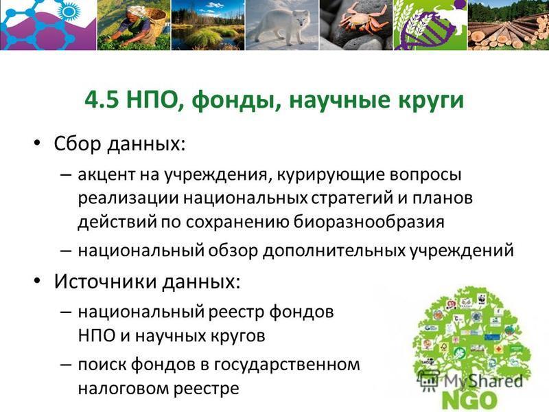 4.5 НПО, фонды, научные круги Сбор данных: – акцент на учреждения, курирующие вопросы реализации национальных стратегий и планов действий по сохранению биоразнообразия – национальный обзор дополнительных учреждений Источники данных: – национальный ре