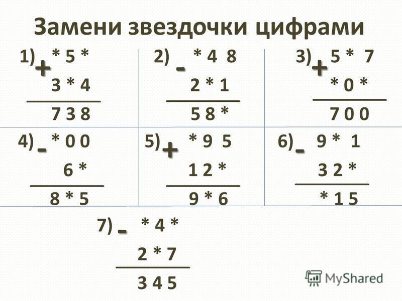 Замени звездочки цифрами 1) * 5 * 2) * 4 8 3) 5 * 7 3 * 4 2 * 1 * 0 * 7 3 8 5 8 * 7 0 0 ******** ****** 4)* 0 0 5) * 9 5 6) 9 * 1 6 * 1 2 * 3 2 * 8 * 5 9 * 6 * 1 5 + + - - +- 7) * 4 * 2 * 7 3 4 5 -