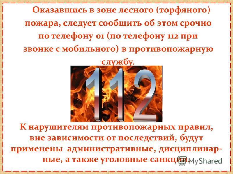 Оказавшись в зоне лесного (торфяного) пожара, следует сообщить об этом срочно по телефону 01 (по телефону 112 при звонке с мобильного) в противопожарную службу. К нарушителям противопожарных правил, вне зависимости от последствий, будут применены адм