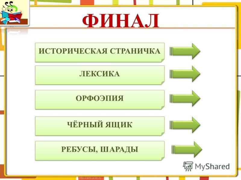 ФИНАЛ ИСТОРИЧЕСКАЯ СТРАНИЧКА ЛЕКСИКА ОРФОЭПИЯ ЧЁРНЫЙ ЯЩИК РЕБУСЫ, ШАРАДЫ