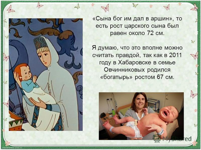 «Сына бог им дал в аршин», то есть рост царского сына был равен около 72 см. Я думаю, что это вполне можно считать правдой, так как в 2011 году в Хабаровске в семье Овчинниковых родился «богатырь» ростом 67 см.
