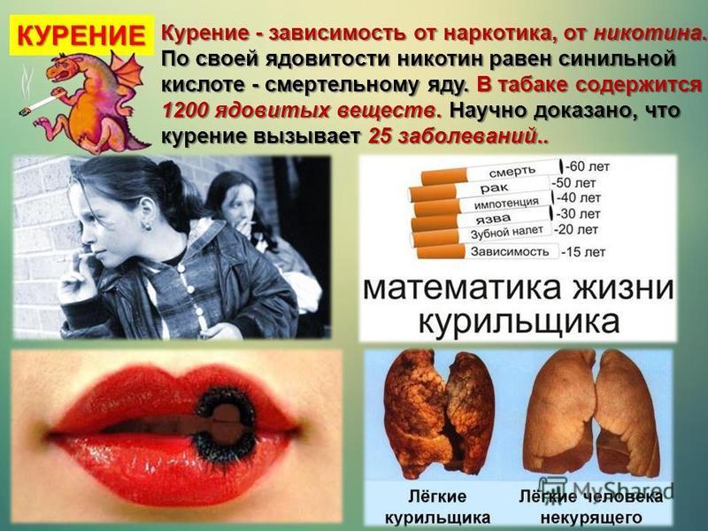 Курение - зависимость от наркотика, от никотина. По своей ядовитости никотин равен синильной кислоте - смертельному яду. В табаке содержится 1200 ядовитых веществ. Научно доказано, что курение вызывает 25 заболеваний.. КУРЕНИЕ
