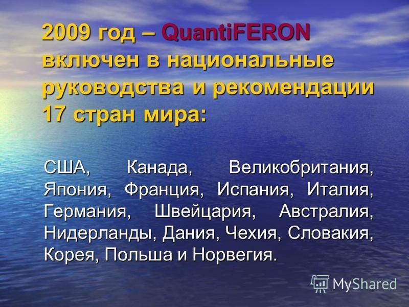 2009 год – QuantiFERON включен в национальные руководства и рекомендации 17 стран мира: США, Канада, Великобритания, Япония, Франция, Испания, Италия, Германия, Швейцария, Австралия, Нидерланды, Дания, Чехия, Словакия, Корея, Польша и Норвегия. США,