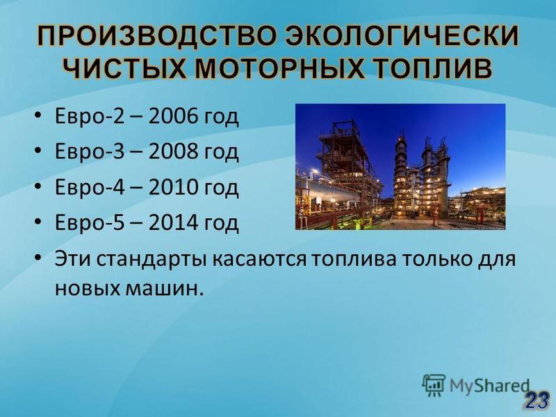 Евро-2 – 2006 год Евро-3 – 2008 год Евро-4 – 2010 год Евро-5 – 2014 год Эти стандарты касаются топлива только для новых машин.