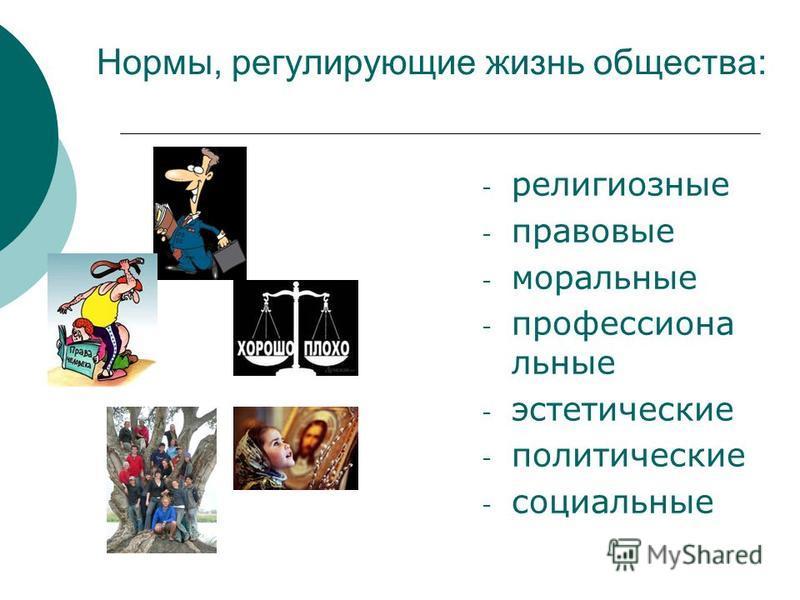 Нормы, регулирующие жизнь общества: - религиозные - правовые - моральные - профессиональные - эстетические - политические - социальные
