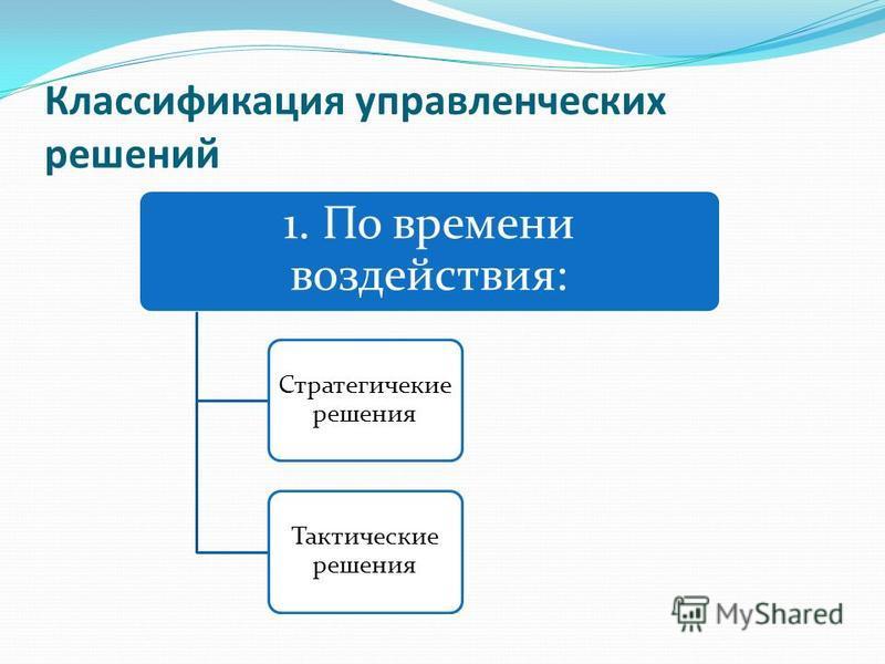Классификация управленческих решений 1. По времени воздействия: Стратегичекие решения Тактические решения