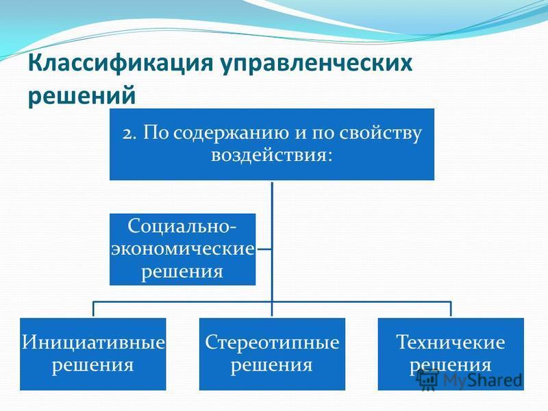 Классификация управленческих решений 2. По содержанию и по свойству воздействия: Инициативные решения Стереотипные решения Техничекие решения Социально- экономические решения