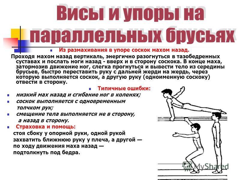 Из размахивания в упоре соскок махом назад. Проходя махом назад вертикаль, энергично разогнуться в тазобедренных суставах и послать ноги назад - вверх и в сторону соскока. В конце маха, затормозив движение ног, слегка прогнуться и вывести тело из сер