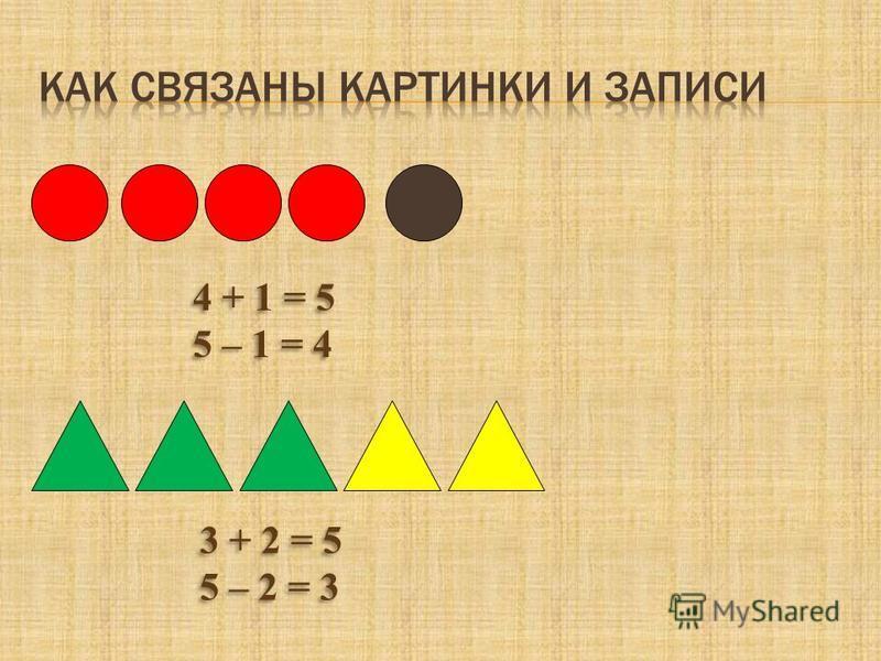 4 + 1 = 5 5 – 1 = 4 4 + 1 = 5 5 – 1 = 4 3 + 2 = 5 5 – 2 = 3 3 + 2 = 5 5 – 2 = 3