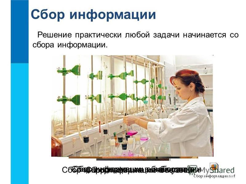 Сбор информации Решение практически любой задачи начинается со сбора информации. Сбор информации на метеостанции Сбор информации в музее Сбор информации в библиотеке Сбор информации в лаборатории