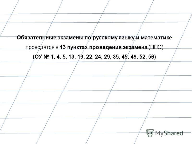 Обязательные экзамены по русскому языку и математике проводятся в 13 пунктах проведения экзамена (ППЭ) (ОУ 1, 4, 5, 13, 19, 22, 24, 29, 35, 45, 49, 52, 56)