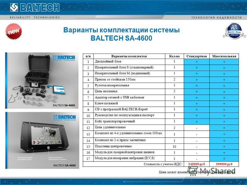 Варианты комплектации системы BALTECH SA-4600 п/п Варианты комплектов Кол-во СтандартнаяМаксимальная 1 Дисплейный блок 1 + + 2 Измерительный блок S (стационарный)1 + + 3 Измерительный блок M (подвижный)1 + + 4 Призма со стойками 150 мм 2 + + 5 Рулетк