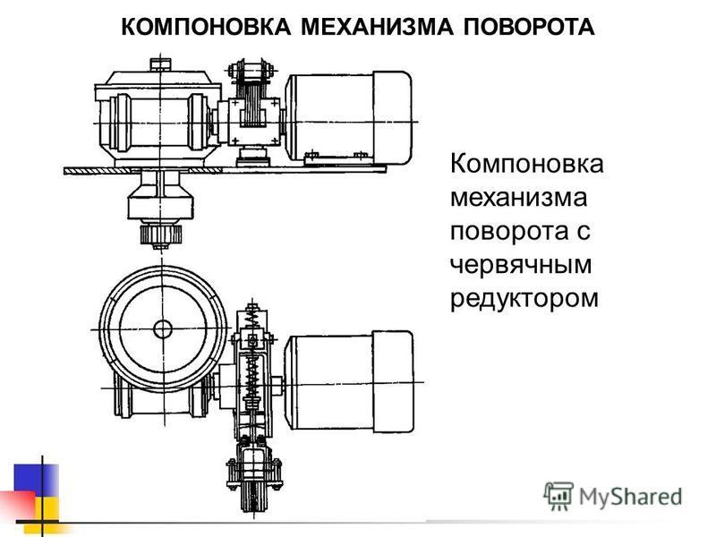 КОМПОНОВКА МЕХАНИЗМА ПОВОРОТА Компоновка механизма поворота с червячным редуктором