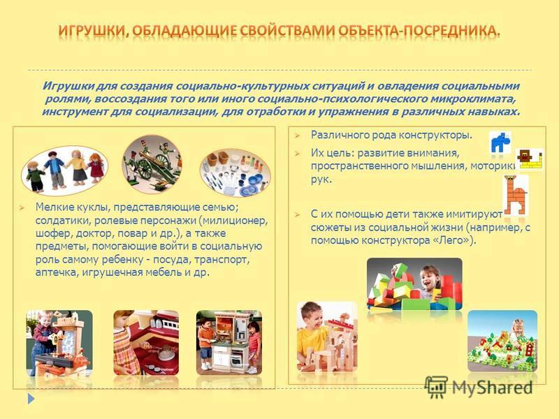 Мелкие куклы, представляющие семью; солдатики, ролевые персонажи (милиционер, шофер, доктор, повар и др.), а также предметы, помогающие войти в социальную роль самому ребенку - посуда, транспорт, аптечка, игрушечная мебель и др. Игрушки для создания