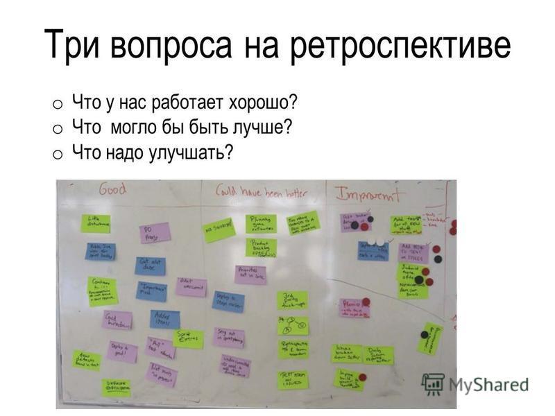 Три вопроса на ретроспективе o Что у нас работает хорошо? o Что могло бы быть лучше? o Что надо улучшать?