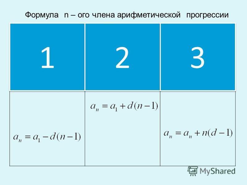 Формула n – ого члена арифметической прогрессии 1 1 2 2 3 3