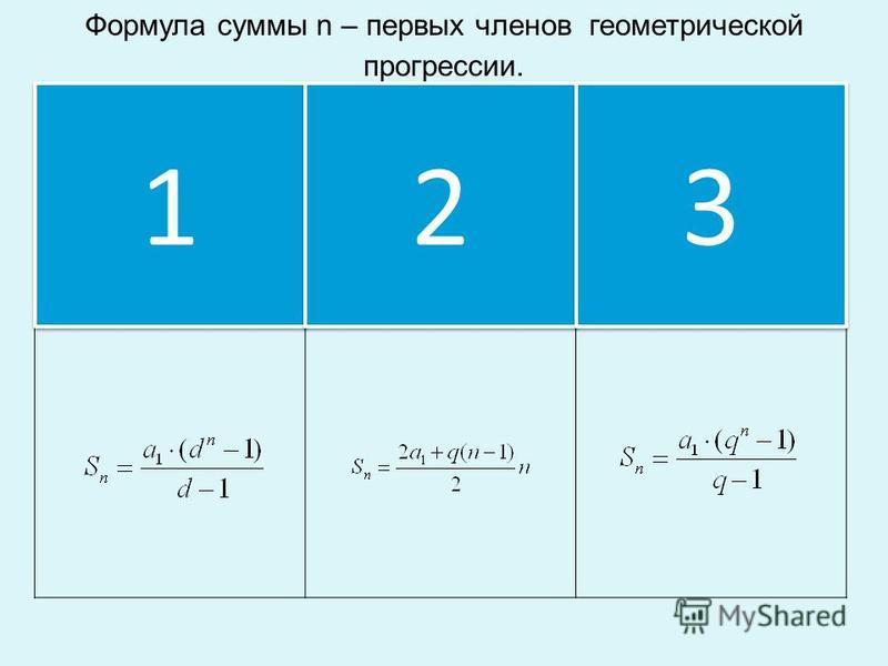 Формула суммы n – первых членов геометрической прогрессии. 1 1 2 2 3 3