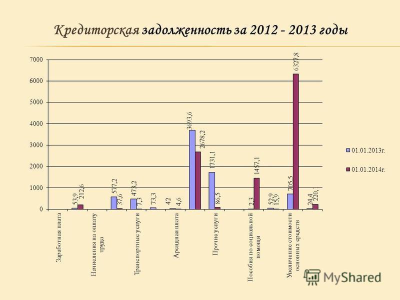 Кредиторская задолженность за 2012 - 2013 годы