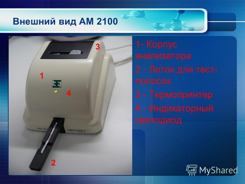 Внешний вид АМ 2100 1- Корпус анализатора 2 - Лоток для тест- полосок 3 - Термопринтер 4 - Индикаторный светодиод 1 3 2 4