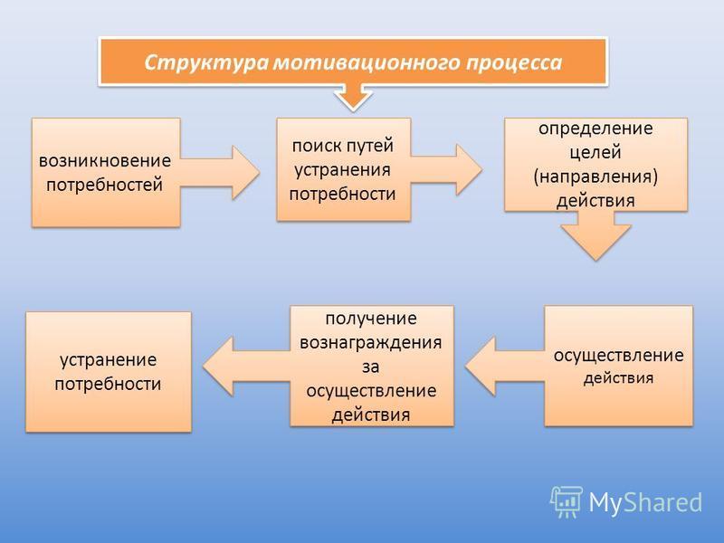 Структура мотивационного процесса возникновение потребностей поиск путей устранения потребности определение целей (направления) действия осуществление действия получение вознаграждения за осуществление действия устранение потребности