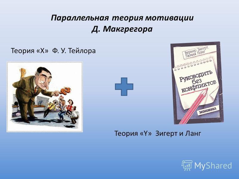 Параллельная теория мотивации Д. Макгрегора Теория «X» Ф. У. Тейлора Теория «Y» Зигерт и Ланг