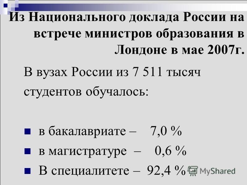 Из Национального доклада России на встрече министров образования в Лондоне в мае 2007 г. В вузах России из 7 511 тысяч студентов обучалось: в бакалавриате – 7,0 % в магистратуре – 0,6 % В специалитете – 92,4 %