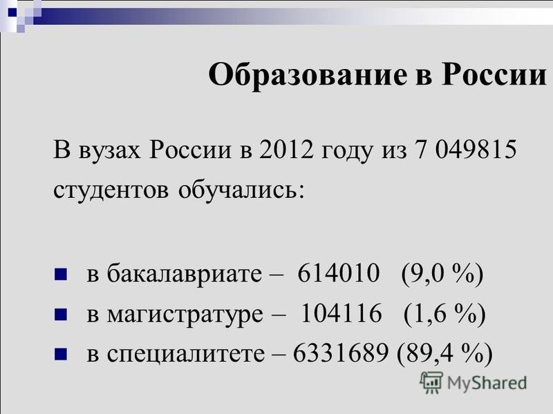 Образование в России В вузах России в 2012 году из 7 049815 студентов обучались: в бакалавриате – 614010 (9,0 %) в магистратуре – 104116 (1,6 %) в специалитете – 6331689 (89,4 %)