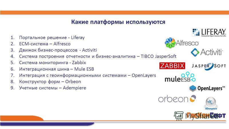 Какие платформы используются 1. Портальное решение - Liferay 2.ECM-система – Alfresco 3. Движок бизнес-процессов - Activiti 4. Система построения отчетности и бизнес-аналитика – TIBCO JasperSoft 5. Система мониторинга - Zabbix 6. Интеграционная шина