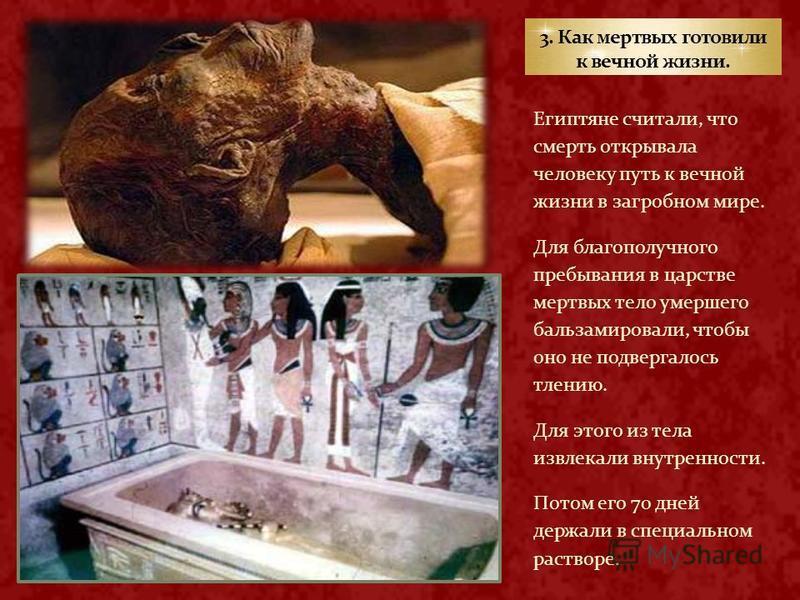 Египтяне считали, что смерть открывала человеку путь к вечной жизни в загробном мире. Для благополучного пребывания в царстве мертвых тело умершего бальзамировали, чтобы оно не подвергалось тлению. Для этого из тела извлекали внутренности. Потом его