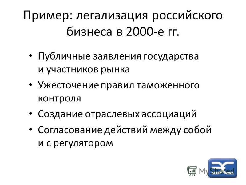 Пример: легализация российского бизнеса в 2000-е гг. Публичные заявления государства и участников рынка Ужесточение правил таможенного контроля Создание отраслевых ассоциаций Согласование действий между собой и с регулятором