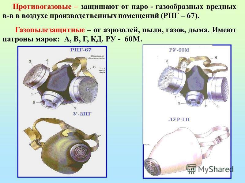 Противогазовые – защищают от паро - газообразных вредных в-в в воздухе производственных помещений (РПГ – 67). Газопылезащитные – от аэрозолей, пыли, газов, дыма. Имеют патроны марок: А, В, Г, КД. РУ - 60М.
