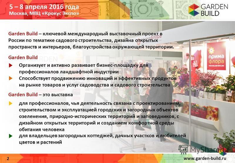 www.garden-build.ru 2 Garden Build – ключевой международный выставочный проект в России по тематике садового строительства, дизайна открытых пространств и интерьеров, благоустройства окружающей территории. Garden Build – это выставка Garden Build Орг