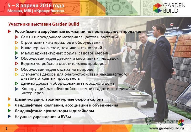 www.garden-build.ru 3 Участники выставки Garden Build Российские и зарубежные компании по производству и продаже: Семян и посадочного материала цветов и растений Строительных материалов и оборудования Инженерных систем, техники и технологий Малых арх