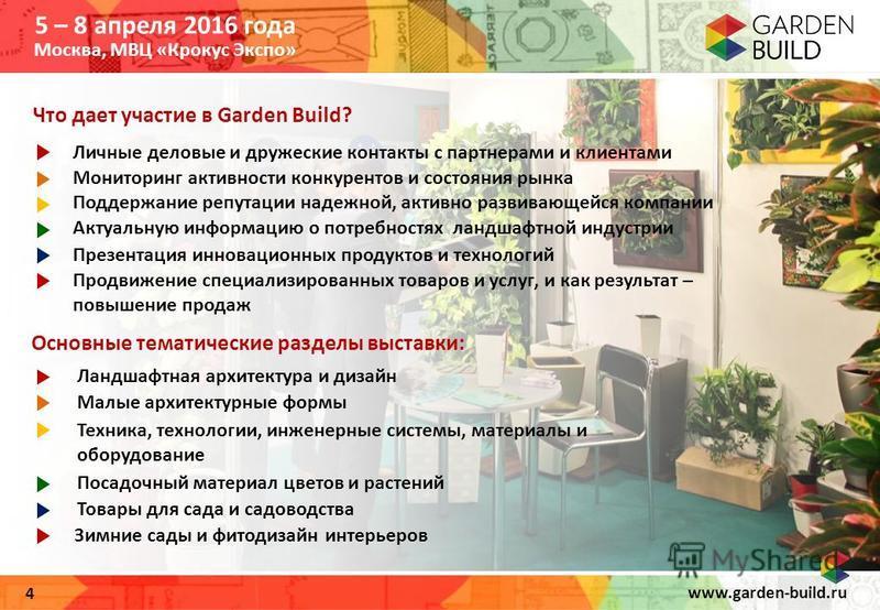 www.garden-build.ru 4 Что дает участие в Garden Build? Основные тематические разделы выставки: Личные деловые и дружеские контакты с партнерами и клиентами Ландшафтная архитектура и дизайн Малые архитектурные формы Техника, технологии, инженерные сис
