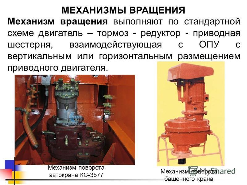 МЕХАНИЗМЫ ВРАЩЕНИЯ Механизм вращения выполняют по стандартной схеме двигатель – тормоз - редуктор - приводная шестерня, взаимодействующая с ОПУ с вертикальным или горизонтальным размещением приводного двигателя. Механизм поворота автокрана КС-3577 Ме