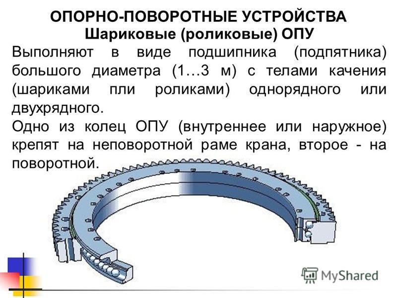 Шариковые (роликовые) ОПУ ОПОРНО-ПОВОРОТНЫЕ УСТРОЙСТВА Выполняют в виде подшипника (подпятника) большого диаметра (1…3 м) с телами качения (шариками пли роликами) однорядного или двухрядного. Одно из колец ОПУ (внутреннее или наружное) крепят на непо