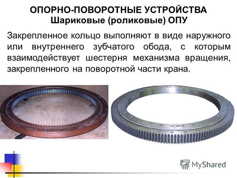 Шариковые (роликовые) ОПУ ОПОРНО-ПОВОРОТНЫЕ УСТРОЙСТВА Закрепленное кольцо выполняют в виде наружного или внутреннего зубчатого обода, с которым взаимодействует шестерня механизма вращения, закрепленного на поворотной части крана.