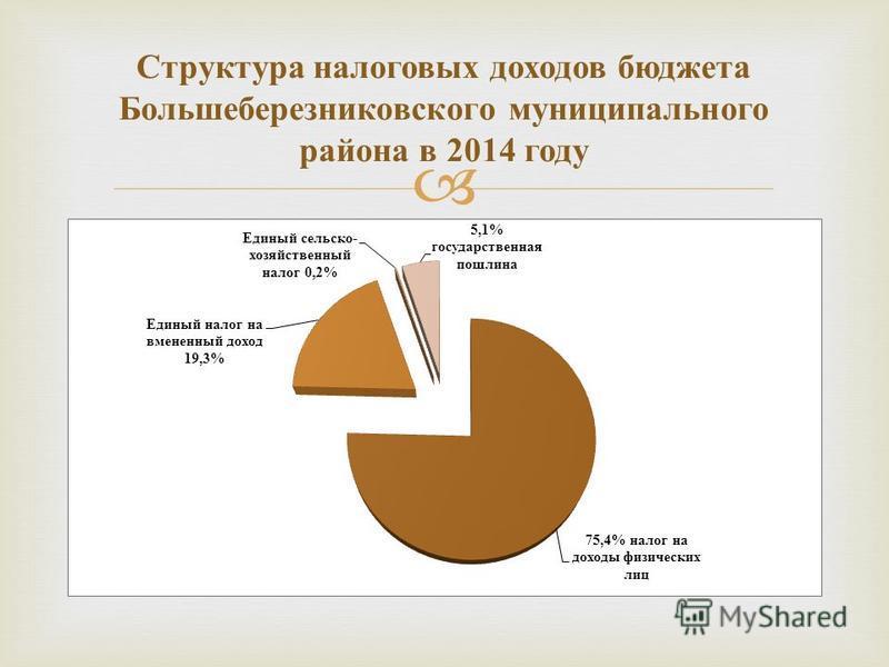 Структура налоговых доходов бюджета Большеберезниковского муниципального района в 2014 году